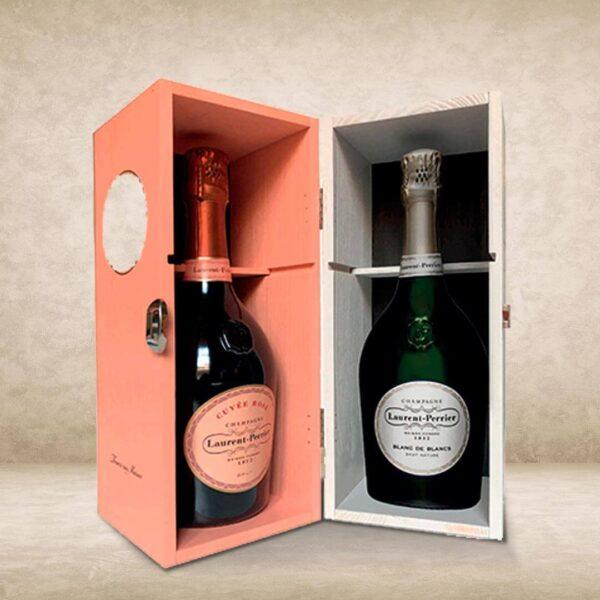 Laurent-Perrier Blanc de Blancs + Cuvée Rosé box legno